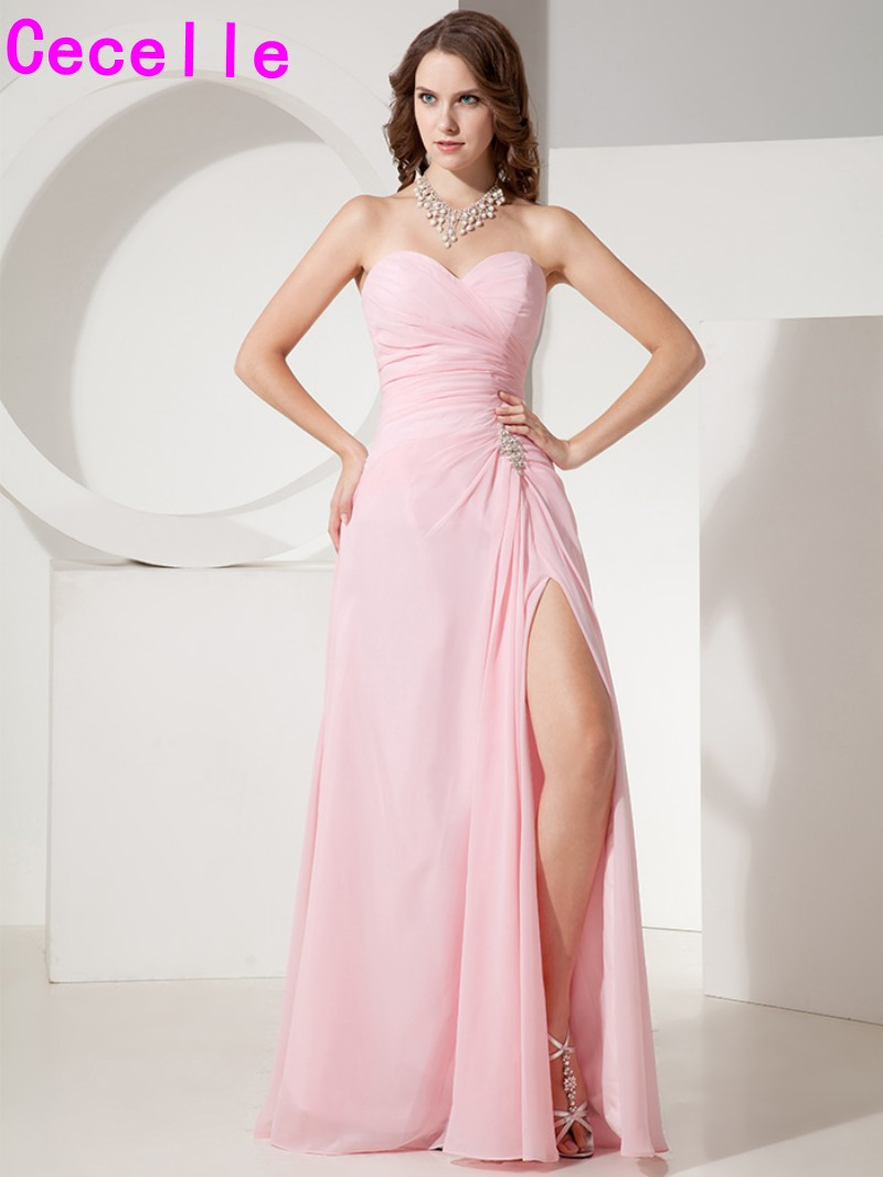 Pink chiffon long bridesmaid dresses a line sweetheart split pink chiffon long bridesmaid dresses a line sweetheart split elegant simple wedding bridesmaid party gowns country western 2017 ombrellifo Images