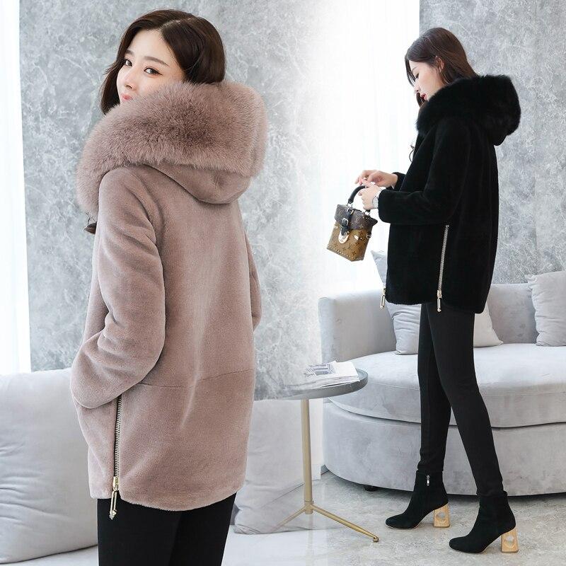 Новое женское меховое пальто зима 2018 осень мода шерсть куртка искусственный мех с капюшоном воротник Толстая теплая синель верхняя одежда ...