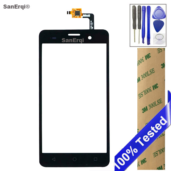 SanErqi Tested New 5.0  Touch Screen For Wiko jerry Digitizer Glass Touch screen Front Sensor Glass Free 3M Tape