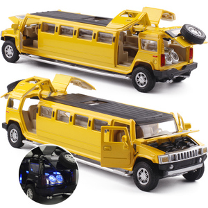 Image 4 - high simulation 1:32 alloy limousine metal diecast car model pull back flashing musical kids toy vehicles gifts free shipping