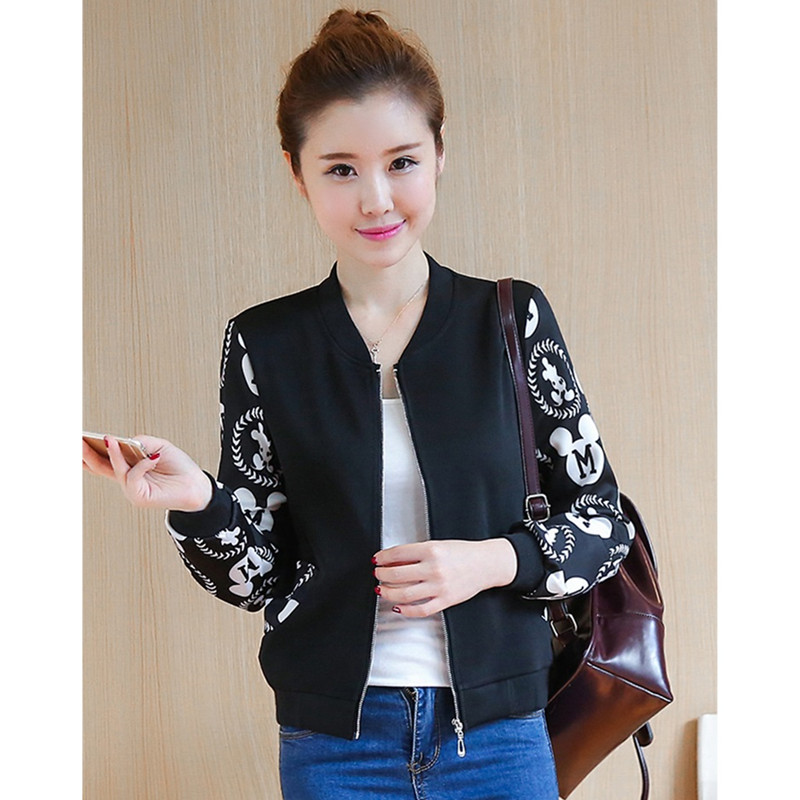 UHYTGF lovely girl Spring autumn tops coats Women Baseball uniform Printed short jacket student Sportswear plus size coat 1491 33