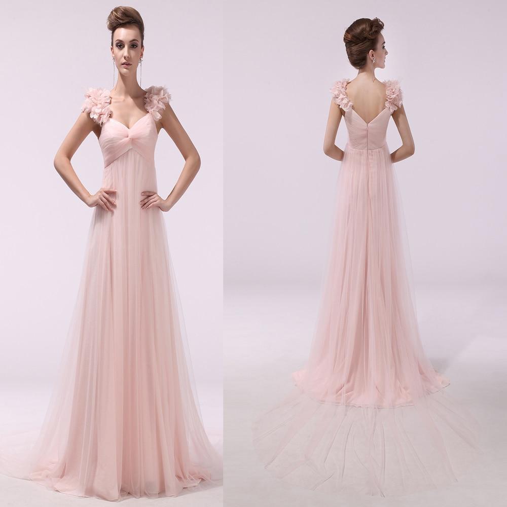 2015 simple pink shoulder dress pleat organza zipper flloor-length A-line long prom - simple's store