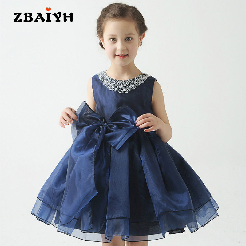 Summer Dress Girl 2017 New Princess Party Wedding Dresses Sleeveless O-neck Lace Flower Baby Girls Kid Clothes Vestidos Infantil free shipping new arrival 2015 fashion summer baby girl lovely flower sleeveless bowknot round neck party dress hot sale