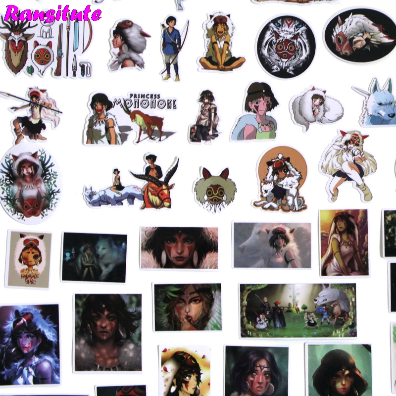 52pcs/set Princess Mononoke Doodle Sticker Kids DIY Skateboard Laptop Luggage Mobile Phone Bike Bicycle Waterproof Sticker