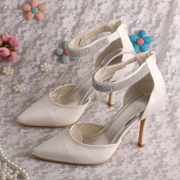 Wedopus Crystal Strap Custom Handmade Ivory Satin Pointed Toe Bridal Shoes a4af94439c0a