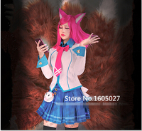 Game Anime LOL Crows Zero Disciplinary Supervisor The Nine Tailed Fox Ahri Party School Uniform Cosplay