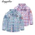 De alta calidad de los muchachos ocasionales blusa de celosía camisa de manga larga chicos with100 % niños del algodón blusa de la manera niños clothing