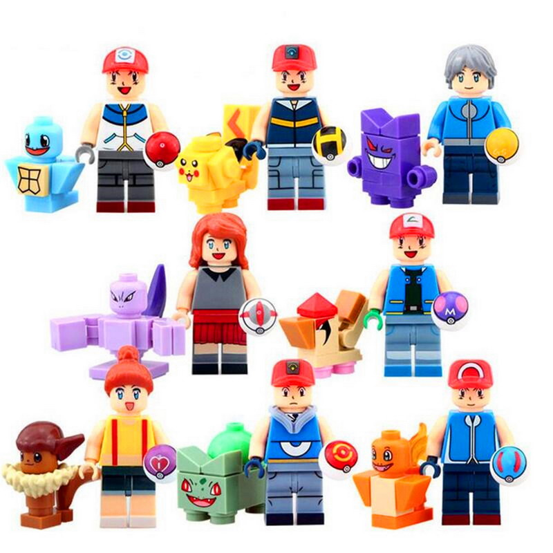 8Sets/Lot Super Heroes Go Pikachu Charmander Bulbasaur Squirtle Figure Blocks Building Bricks Toys For Children Christmas Gift