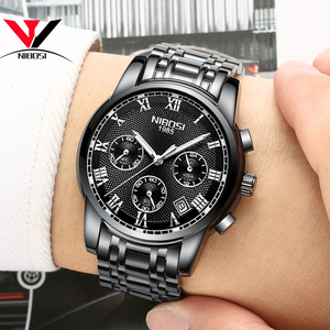 Image 2 - Relojes de marca de lujo para hombres, cronógrafo NIBOSI, relojes deportivos negros para hombres, relojes de negocios de acero completo a prueba de agua para hombres, reloj Masculino