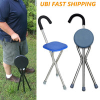 Folding Walking Chair Rest Stool Iron Walking Stick Plastic Seat Non Slip Tripods Cane For Elder Outdoor Hiking Climbing Crutch
