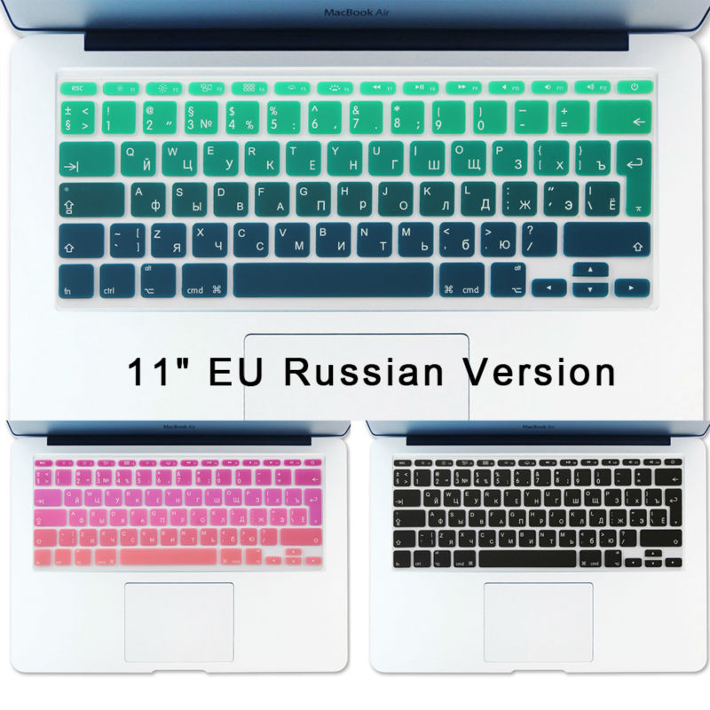 Stiker Keyboard Rusia Air 11 inch Gradien Euro Layout Silicone Keyboard Cover untuk MacBook Air 11.6