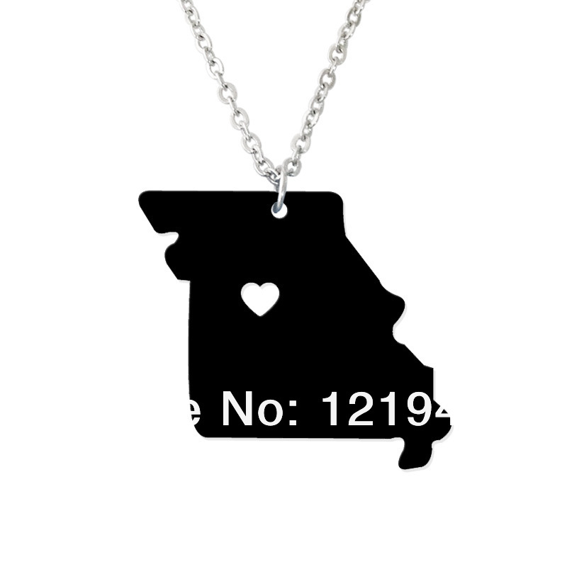 I heart Missouri Necklace - Acrylic State Charm -Personalized State Necklace - Map necklace-Custom Map Pendant