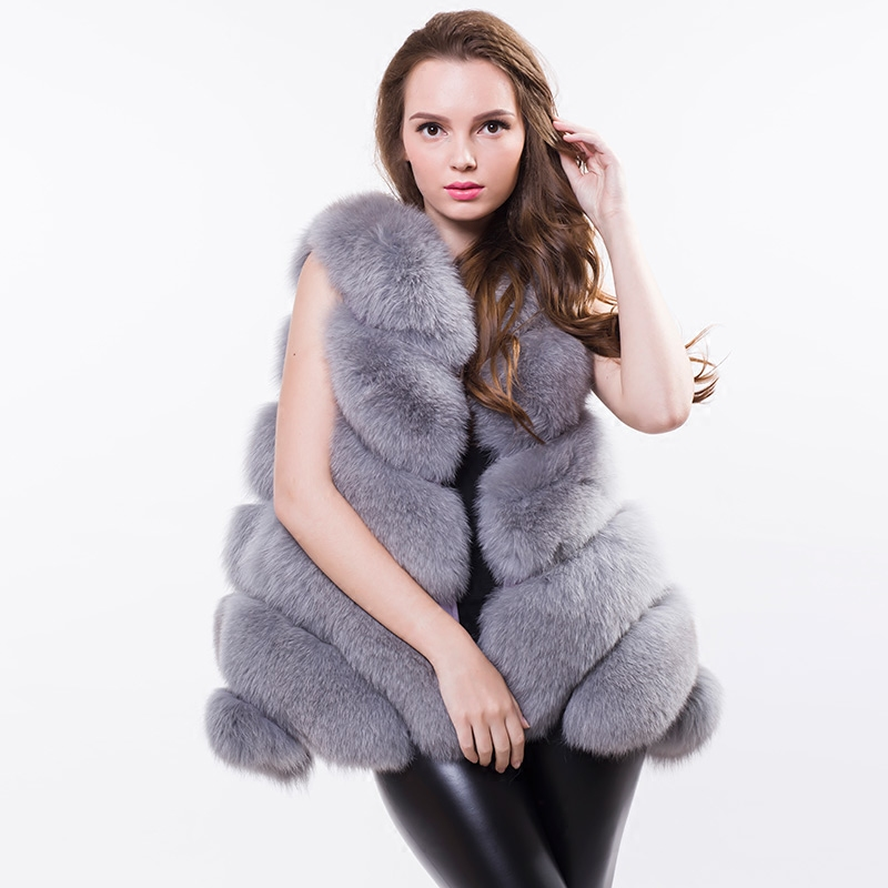 OFTBUY 2019 new autumn winter jacket women basic coat real natural fox fur vest loose colored sleeveless striped thick fur coat