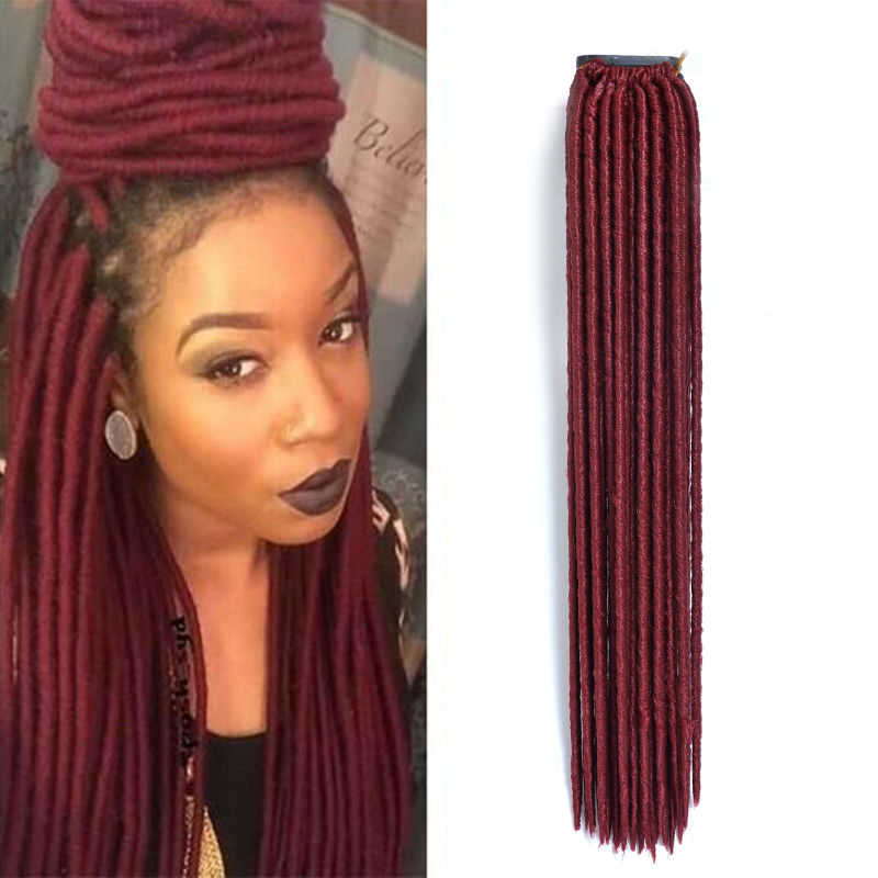 Faux Locs Soft Dread Braids Burgundy Colored Hair Extensions