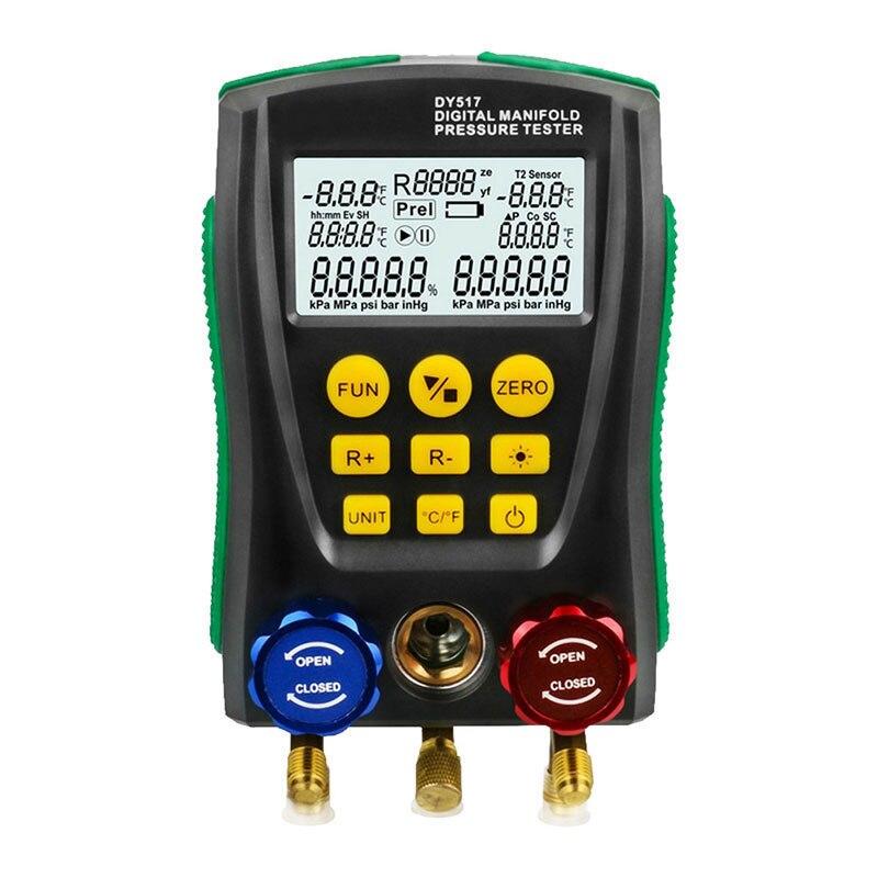 DY517 Pressure Gauge Refrigeration Digital Vacuum Pressure Manifold Tester Meter Temperature Tester