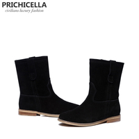 PRICHICELLA 2018 hot selling girl's black suede flats mid calf boots genuine leather women winter booties