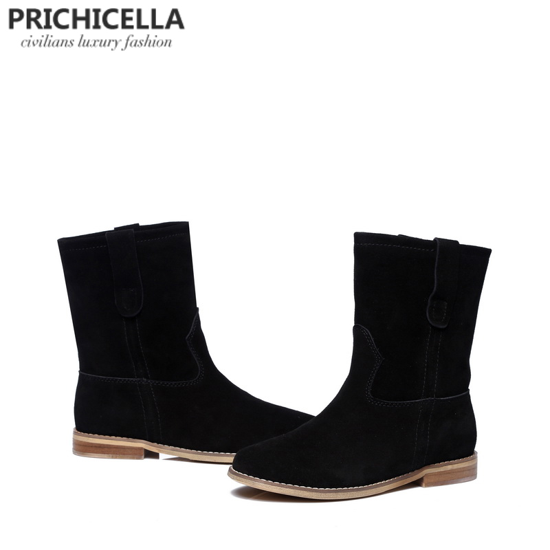 PRICHICELLA 2018 hot selling girl's black suede flats mid calf boots genuine leather women winter booties hot selling chic stylish black grey suede leather patchwork boots mid calf spike heels middle fringe boots side tassel boots