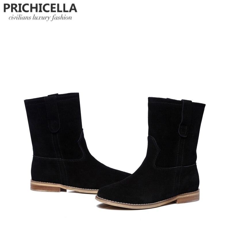 Prichicella 2018 Горячая распродажа! девушки черная замша на плоской подошве до середины икры сапоги натуральная кожа женские зимние ботинки