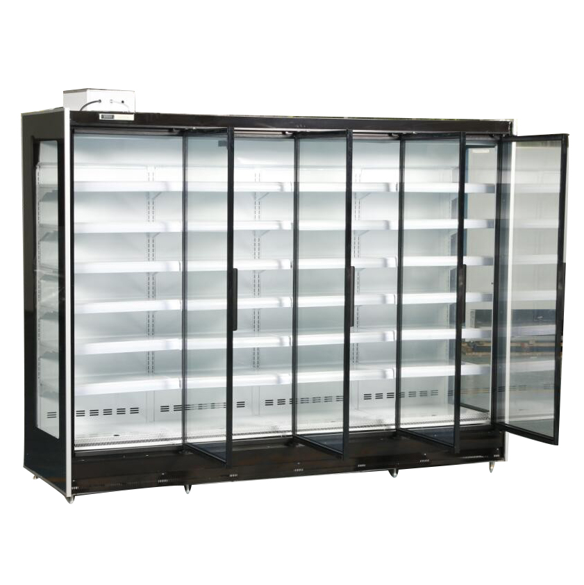 New Intelligent Temp Control Can Customized Supermarket Vertical Fruit Air Curtain Cabinet Wind Cold Storage Display Cabinet