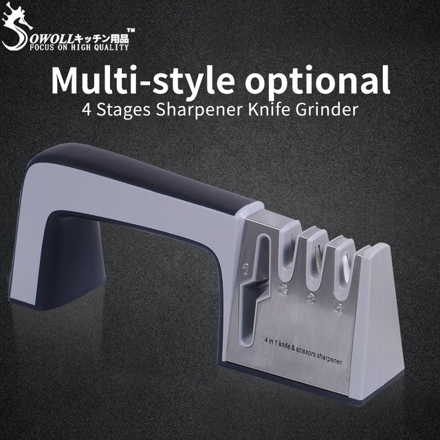 Sowoll Cooking Knife Professional Sharpening Tools Scissor 4 in 1 Sharpener Stone Kitchen Accessory Household Outdoor Tools