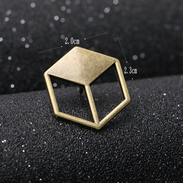 Trendy Metal Antique Gold Brooches Tie Pin Lapel Pin Three-dimensional Grid Square Brooch for Men Wedding Party Suit 2 Pcs / Lot
