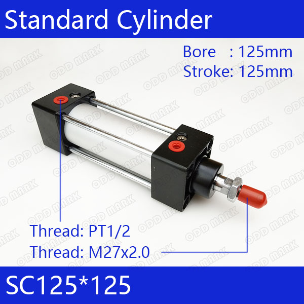 SC125*125 Standard air cylinders valve 125mm bore 125mm stroke single rod double acting pneumatic cylinder sc series standard adjustable cylinder sc125 125 single rod double acting air compressor piston hydraulic cylinder