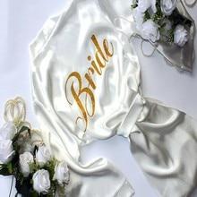 Fashion Robe Bride With Shine Gold Letter Kimono Satin Soft Bride Robe Sexy Wedding Party Dresses