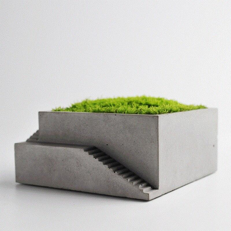 Новая силиконовая форма для цветочного горшка квадратное здание с лестницей форма бетонная форма мох бонсай цементная пластина инструмент...