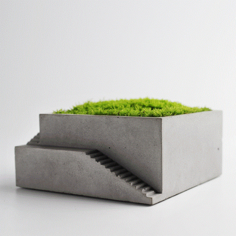 New Silicone Flower Pot Mold Square Building with Stairs Shape Concrete Mould Moss Bonsai Cement Plate Home Decoration Tool-in Clay Molds from Home & Garden    1