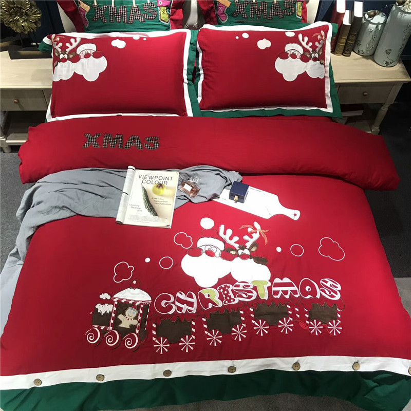 Luxury Embroidery Bedding Set King Queen Size 4/6pcs Bed Linen Egyptian Cotton Duvet Cover  Bed Sheet Set Pillowcases