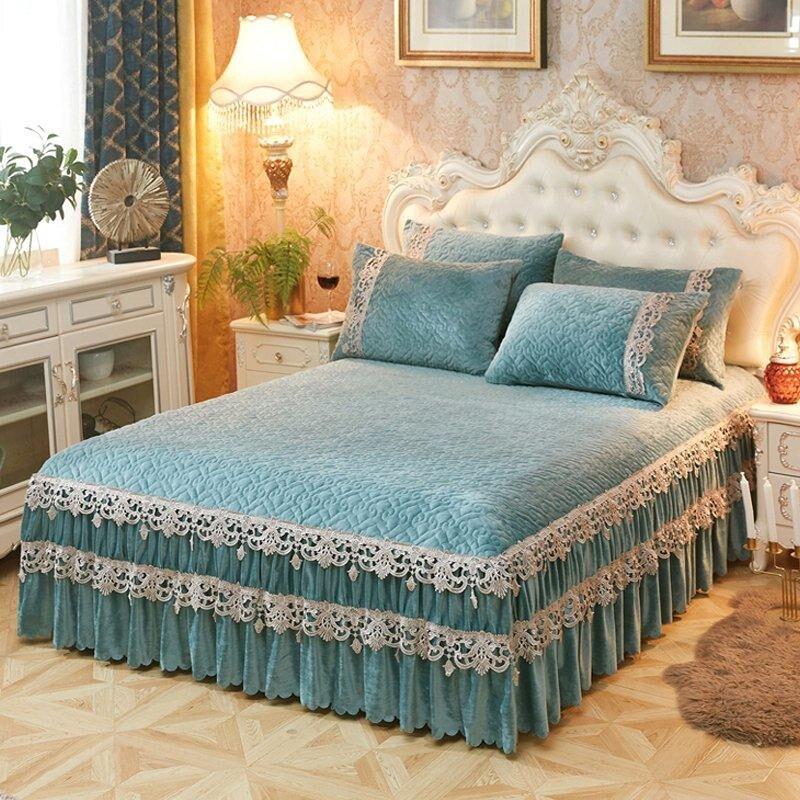 150x200 Cm/180x200 Cm/200x220 Cm Gewatteerde Katoen Kant Rand Bed Spread Bed Cover Set Matrashoes Couvre Lit Speciale Kopen