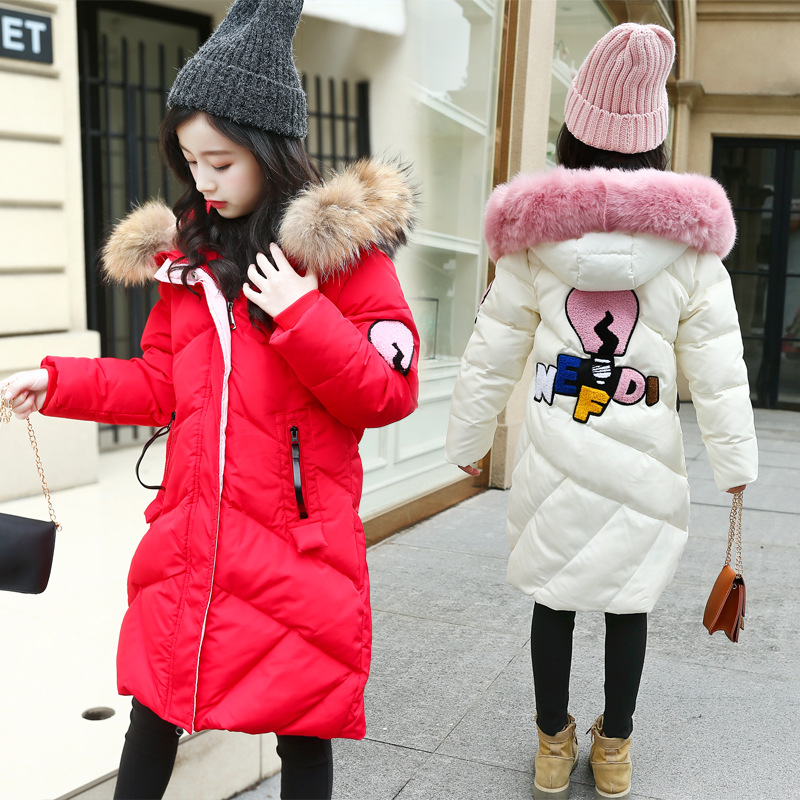 2018 Girls Big Winter Fur Collar Long Cotton Thickened New Cartoon Embroidery Girls Down Cotton Coat2018 Girls Big Winter Fur Collar Long Cotton Thickened New Cartoon Embroidery Girls Down Cotton Coat