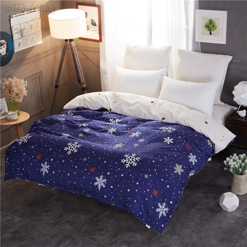 Winter Snowflake Printing Duvet Cover 1pc Comforter/Blanket Case Quilt Cover with Zipper Twin Full Double Queen Size Bedding Set
