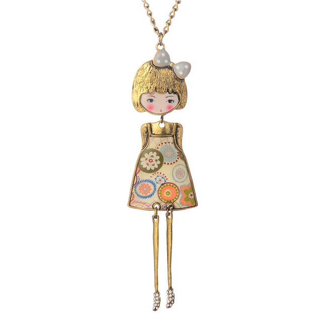 Necklace and Doll with Flower Dress Pendant