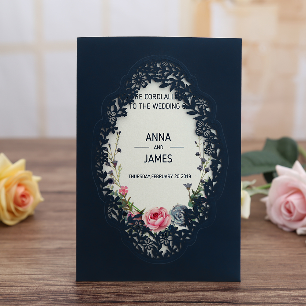 Wedding Invitations Business: Business 100pcs Navy Blue Gold Burgundy Pink Vertical