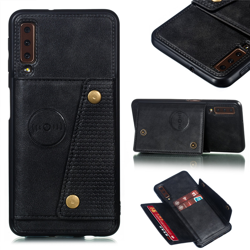 Wallet PU Leather Stand Silicone Phone Case For Samsung Galaxy S8 S9 S10 Plus Note 10 A6 A7 J4 J6 Plus 2018 Card Slot Flip Cover