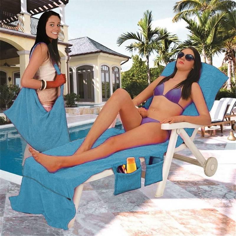 Microfiber Fiber Sunbath Lounger Bed Mate Chair Cover Beach Towel Holiday Leisure Garden Beach Serviette 30 x 83 New