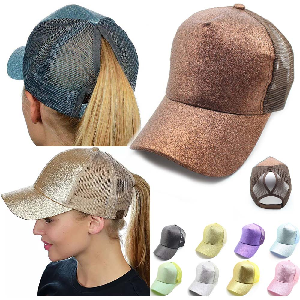 Glitter Ponytail Mesh Hat Men Women Baseball Cap Adjustable Female Sequins Shine Sport Dancing Summer Sun Bun Caps Outdoor Hats