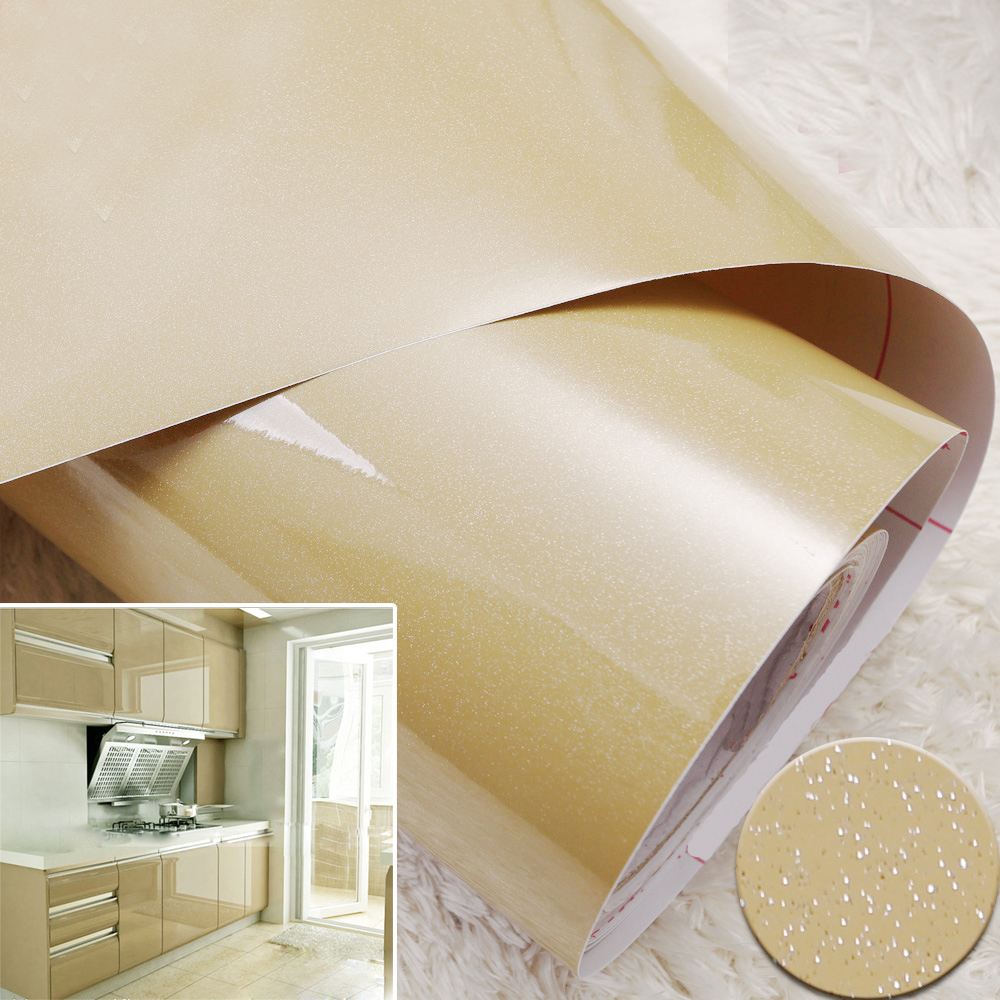 Yazi Glossy Champagne Removable PVC Shelf Liner Sticker Drawer Kitchen  Cupboard Door Cover Wall Sticker Part 80