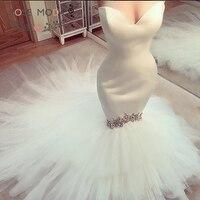 Роза Мода Русалка без бретелек свадебное платье 2019 с кристаллами