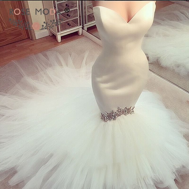 Rose Moda Strapless Mermaid Wedding Dress 2019 with Crystals