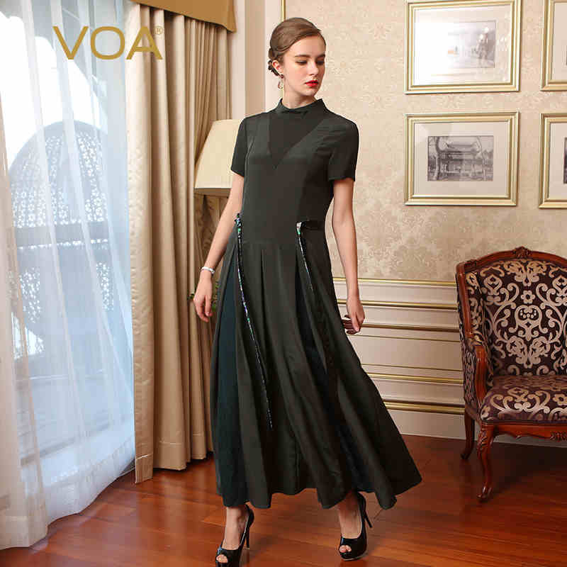 VOA Heavy Silk Green Bohemian Women Jumpsuits Plus Size 5XL England Style Short Sleeve Wide Leg Rompers Overalls Spring K7673