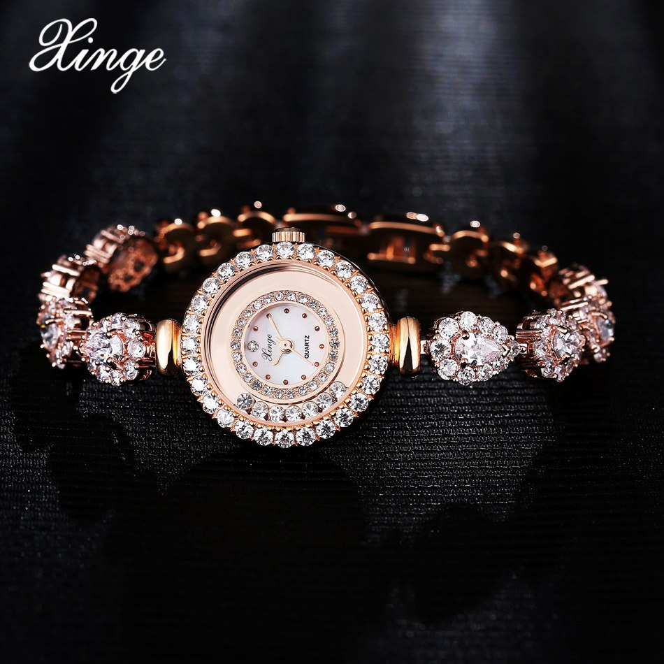 Xinge Top Brand Women Watches Luxury Zircon Jewelry Bracelet Quartz Clock Fashion Ladies Dress Creative Watches Relogio Feminino xinge top brand luxury women watches silver stainless steel dress quartz clock simple bracelet watch relogio feminino