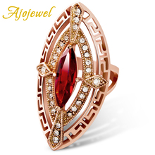 Ajojewel Hollow Out Letter Design Red/Champagne Zircon Big Stone Designer Women Ring Luxury