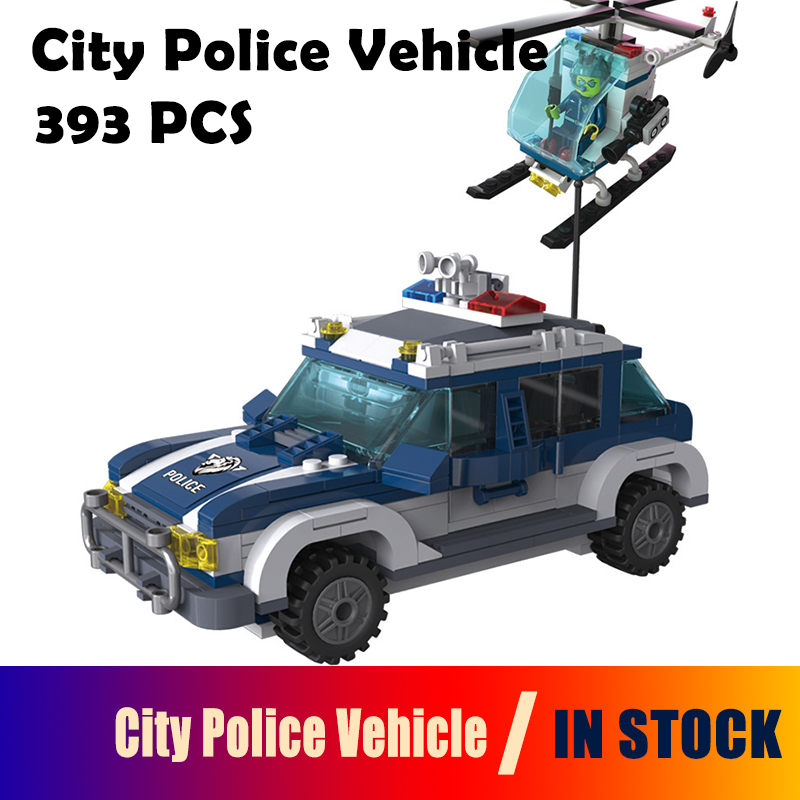 Model building kits compatible with lego City Police Vehicle Helicopter 3D blocks Educational toys hobbies for children