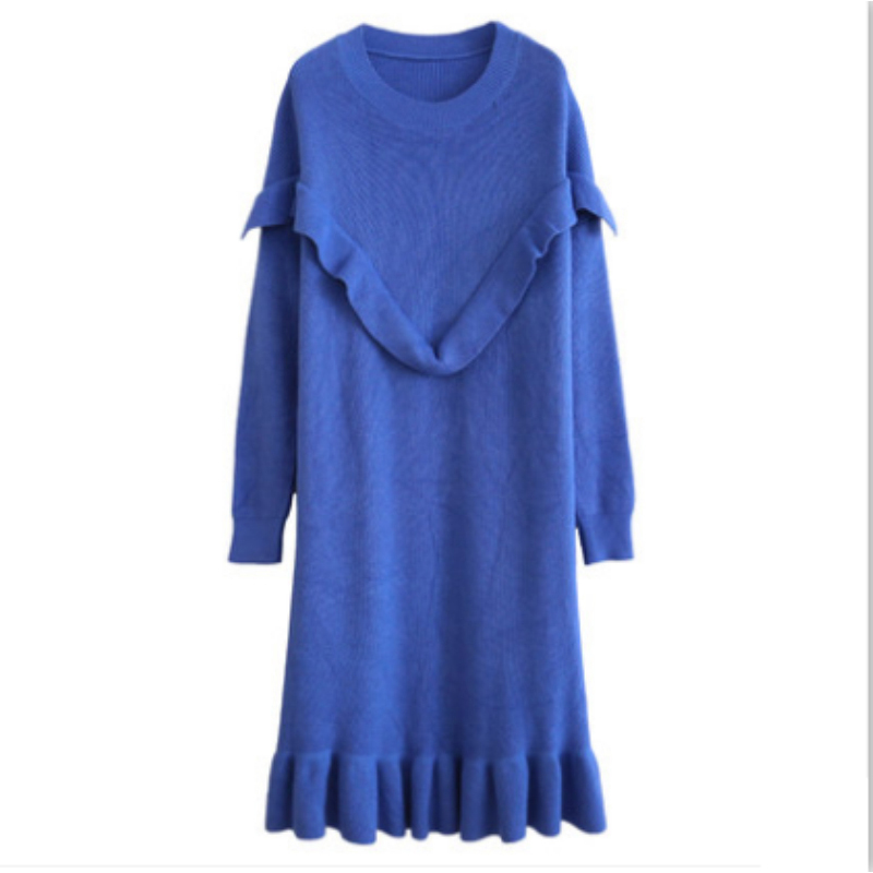 Autumn Wool Knitted Sweater Dress Plus Size Ruffles Midi Long Dresses for Pregnant Women Pregnancy Cute Elegant Fashion Clothes light coffee knitted long sleeves off shoulder midi dress