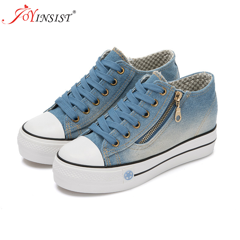 2019 Spring Denim Canvas Shoes Female Korean Version Thick Bottom shoes Women Shoe(China)