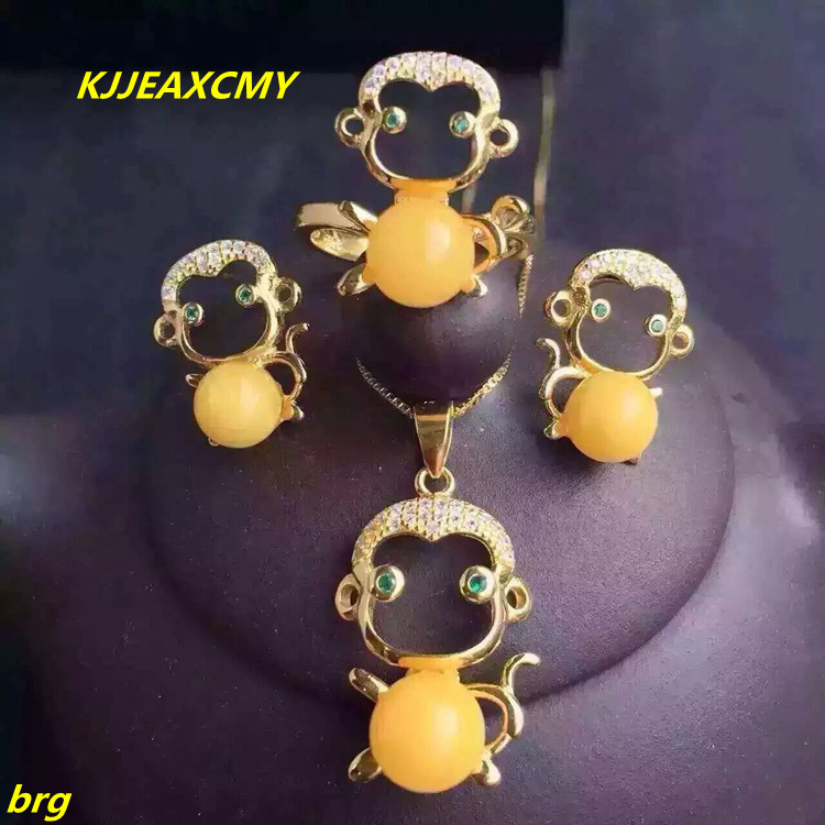 KJJEAXCMY Fine jewelry, 925 sterling silver beeswax three-piece jewelery plated with gold beeswax pendant earring ring