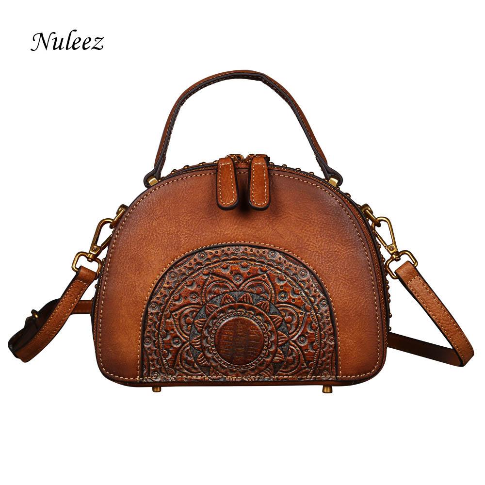 Nuleez genuine cowhide women bag Chinese Vintage totes and cross-body bag 2018 autumme bodenschatz women savona cross body bag