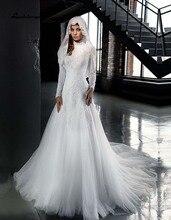Sexy Arabic High Neck Mermaid Wedding Dresses High Neck Muslim Bridal Gowns Long Sleeve robe de